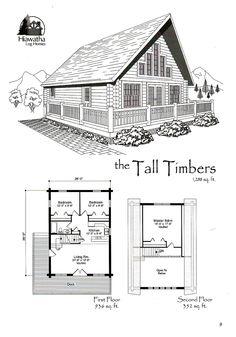 Building A Log Cabin: Favorite Log Home Floor Plan Small Log Cabin Plans, Cabin Plans With Loft, Loft Floor Plans, Log Cabin Floor Plans, Cabin Loft, A Frame House Plans, Loft Plan, Small Floor Plans, Cottage Floor Plans