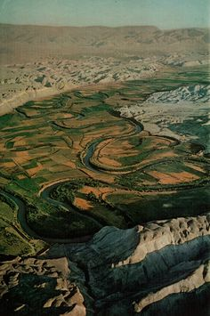 """Kodachrome by Thomas Nebbia. From """"Where Jesus Walked,"""" National Geographic, December, 1967. """"Thread of life through harsh hills, the Jordan River coils southward from the Sea of Galilee, creating a swath of plenty. Jesus was about 30 years old,..."""