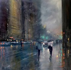 mike barr rainy day impressionist painting