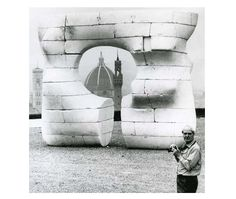 Moore in Florence 1972 with polystyrene Large Square Form with Cut (LH 599) in progress. Henry Moore