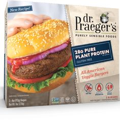 Praeger's plant based nutrition, plus All American flavor! Praeger's Sensible Foods® All American Veggie Burgers are packed with of Pure Plant Best Veggie Burger, Beet Burger, Vegan Burgers, Paninis, Quesadillas, Burritos, Protein Shop, Plant Based Burgers, Sandwiches