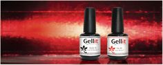 Gellit Stick it and Gellit Fix it bottles on a sparkly red background with the headline Turn any Nail Polish into Gel Polish with Gellit!