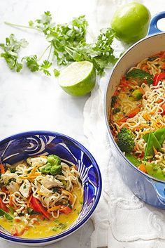 Make an entire meal in your Dutch oven with this easy chicken stew recipe. Broccoli, carrots, ramen noodles, and snow peas make this bright and colorful stew hearty enough to enjoy all on its own. #fallsouprecipe #souprecipe #soups #stews #easy #bhg