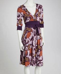 Take a look at this Purple & Orange Floral Surplice Dress by Aryeh on #zulily today!