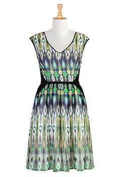 I <3 this Colorblock marbled print frock from eShakti