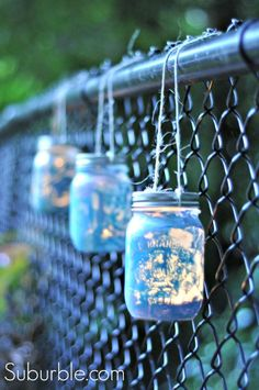 Crafting with kids: Use paint on mason jars, coat in Mod Podge Outdoor, and you've created beautiful lanterns - great for camping, barbeques, and star-gazing. Suburble.com