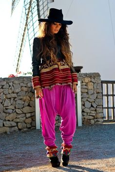 Madame de rosa. Boho chic look with hot pink pants. ZsaZsa Bellagio