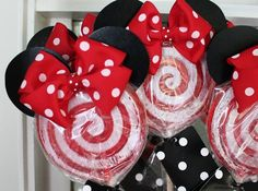 "Pops and Polka Dots: ""Ears just seemed to Minnie-fy everything,"" Kristin says. ""Simple red and white lollipops were transformed with their new accessories.""  Source: The Hunted Interior"