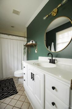 Green Master Bathroom Progress: The Power of Paint and Small Changes : budget bathroom makeover- Green Master Bathroom Progress - Cassie Bustamante Diy Bathroom, Bathroom Layout, Modern Bathroom Design, Bathroom Ideas, Bathroom Green, Bathroom Mirrors, Bathroom Faucets, Bathroom Cabinets, Bathroom Hacks