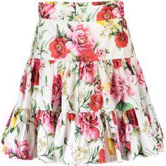 Dolce & Gabbana  Floral Popline Skirt ($995) ❤ liked on Polyvore featuring skirts, zip skirt, floral skirt, poplin skirt, floral print skirt and white knee length skirt