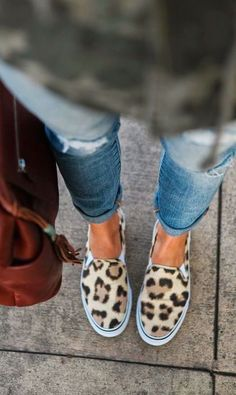 Boyfriend jeans and leopard flats.  What more could a girl ask for?