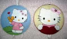 Hello Kitty bookmark from felt and an old cd