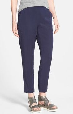 NWT Eileen Fisher Midnight Tapered Lightweight Twill Ankle Pants Small #EileenFisher #CasualPants