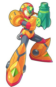 Mega Man X (w/ Samus power suit) by V-a-a-N