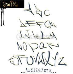 Alfabeto de fonte graffiti, letras abc — Ilustração de Stock #7796720