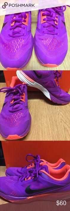 NIKE Fitsole Purple & Orange Sz 8.5 Women's Nikes 8.5 Barely worn  Purple and orange Running/training sneakers Nike Shoes Athletic Shoes