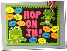 Back to School Bulletin Boards - hop on in! frog bulletin board with names