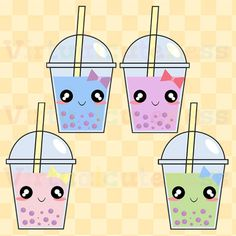 Cute Bubble Tea Clip Art - Boba Clipart, Digital Stickers, Planner, Printable Stickers, Scrapbook, Kawaii, Free Commercial and Personal Use