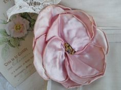 1920's Flapper Ribbonwork LARGE Silk Satin Flower with Stamens Handmade with Rolled Edge Petals