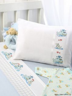 Whale and Shark Border 1 of 2 Baby Sheets, Cot Sheets, Baby Bedding Sets, Bed Cover Design, Diy Nursery Decor, Machine Embroidery Projects, Baby Embroidery, Cross Stitch Baby, Heirloom Sewing