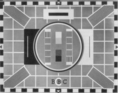 old bbc test card. This was on for much of the day, as television wasn't on until the early afternoon (no rubbishy breakfast telly to distract us from getting ready for school!) and closed down well before midnight.