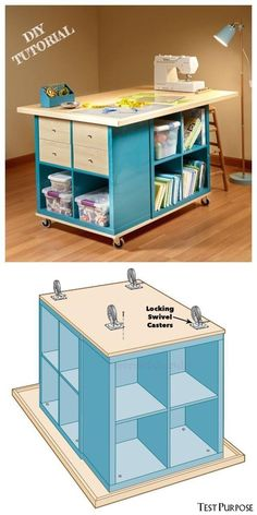 Craft Tables With Storage, Craft Room Tables, Craft Room Storage, Table Diy, Ikea Table, Diy Sewing Table, Craft Table Ikea, Diy Crafts Table, Craft Desk
