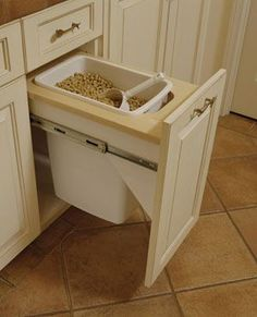 Brilliant idea for the pet food! Put in laundry room to keep out of kitchen