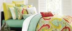 Echo is crazy for paisley! The Jaipur bedding collection infuses splashes of bold red and yellow with calming shades of aqua and sand for a truly unique bed that is sure to impress.