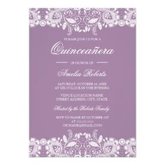 #Vintage Lace Purple Quinceanera Invitation - #birthday #gift #present #giftidea #idea #gifts