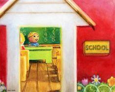 Good Morning, Miss Crabtree by Kara K. Bigda Fisher Price Toys, Vintage Fisher Price, Childhood Toys, Childhood Memories, Nursery Artwork, People Art, Little People, Legos, Altered Art