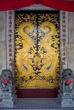 Chinese temple doors by Keith Kelly