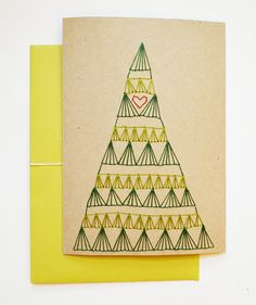 Hand Stitched Christmas Tree Note Card by SarahKBenning on Etsy, $7.50