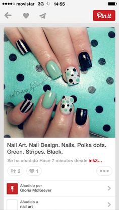 Looking for new trendy mint and black nail designs? Browse a full photo gallery of mint and black nail designs to get inspired. Pick yours today! Mint Nail Art, Mint Nails, Black Nails, White Nails, Fancy Nails, Love Nails, Pretty Nails, Acrylic Nails, Gel Nails