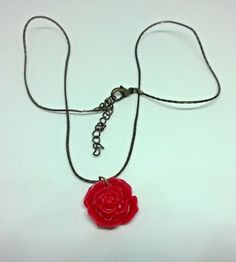 Pre-Loved Jewellery Red Rose Plastic Charm / Pendant on a Bronze Coloured Chain