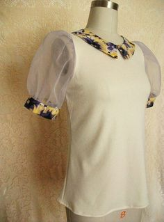 MADE TO ORDER cream blouse with collar and puff sleeves on Etsy, $60.00