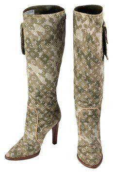 e0731984eb4a GB1002354K Louis Vuitton Green Denim Monogramouflage Murakami Heeled Boots  Size 7 Louis Vuitton Green Denim…
