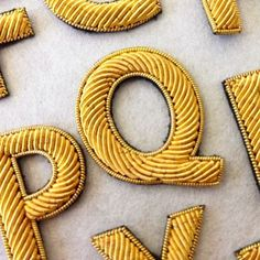 Our gold work letters are a unique way to personalise something special. . . . #handandlock #embroidery #goldwork #goldletters #monogramming #personalisation #customise #accessories