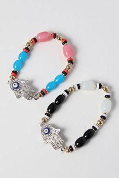 Hamsa Hand Stone Bracelet