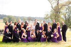 Posing for a large bridal party