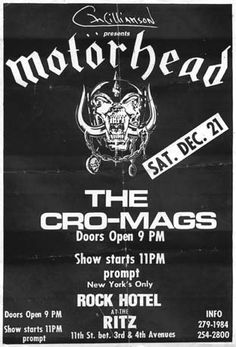 Cro-Mags, Motorhead punk hardcore flyer
