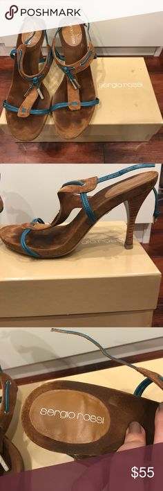 Authentic Sergio Rossi Heels Cute Sergio Rossi sandals with blue bands in good condition. Super cute with summer/spring outfits Sergio Rossi Shoes Heels