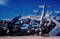 Pile of Republic F-84 Thunderjets at the Military Aircraft Storage and Disposal Center (now AMARG), Davis-Monthan AFB, ca. 1959