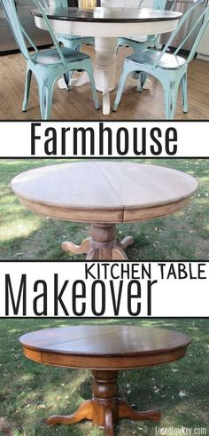 Refinishing Kitchen Tables, Old Tables, Dining Table Makeover, Kitchen Table Makeover, Farmhouse Kitchen Tables, Kitchen Dining, Farmhouse Round Dining Table, Rustic Round Table, Rustic Farmhouse Table
