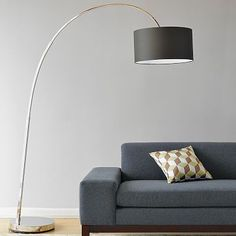 Overarching Floor Lamp #WestElm  In polished Nickel/Natural