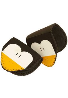 Penguin Pals Oven Mitts - Black, White, Yellow from Mod Cloth
