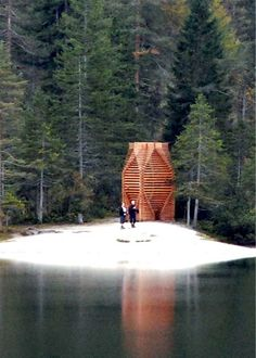 This tiny slatted timber pavilion is intended as a space for contemplation in Italy's largest national park.