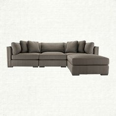 """Truffle 122"""" Four Piece Upholstered Sectional in Milano Millstone   Arhaus Furniture"""