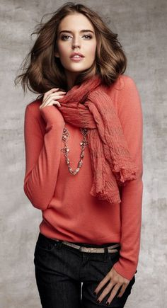 Ann Taylor- match your scarf with your top for unexpected texture.