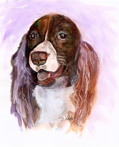 """Daily Paintworks - """"8x10 English Springer Spaniel Dog Watercolor and Higgins Ink Penny StewArt"""" - Original Fine Art for Sale - © Penny Lee StewArt"""
