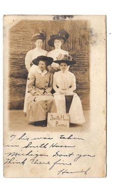 Ladies in Fancy Hats South Haven Bums South Haven Michigan Real Photo Postcard